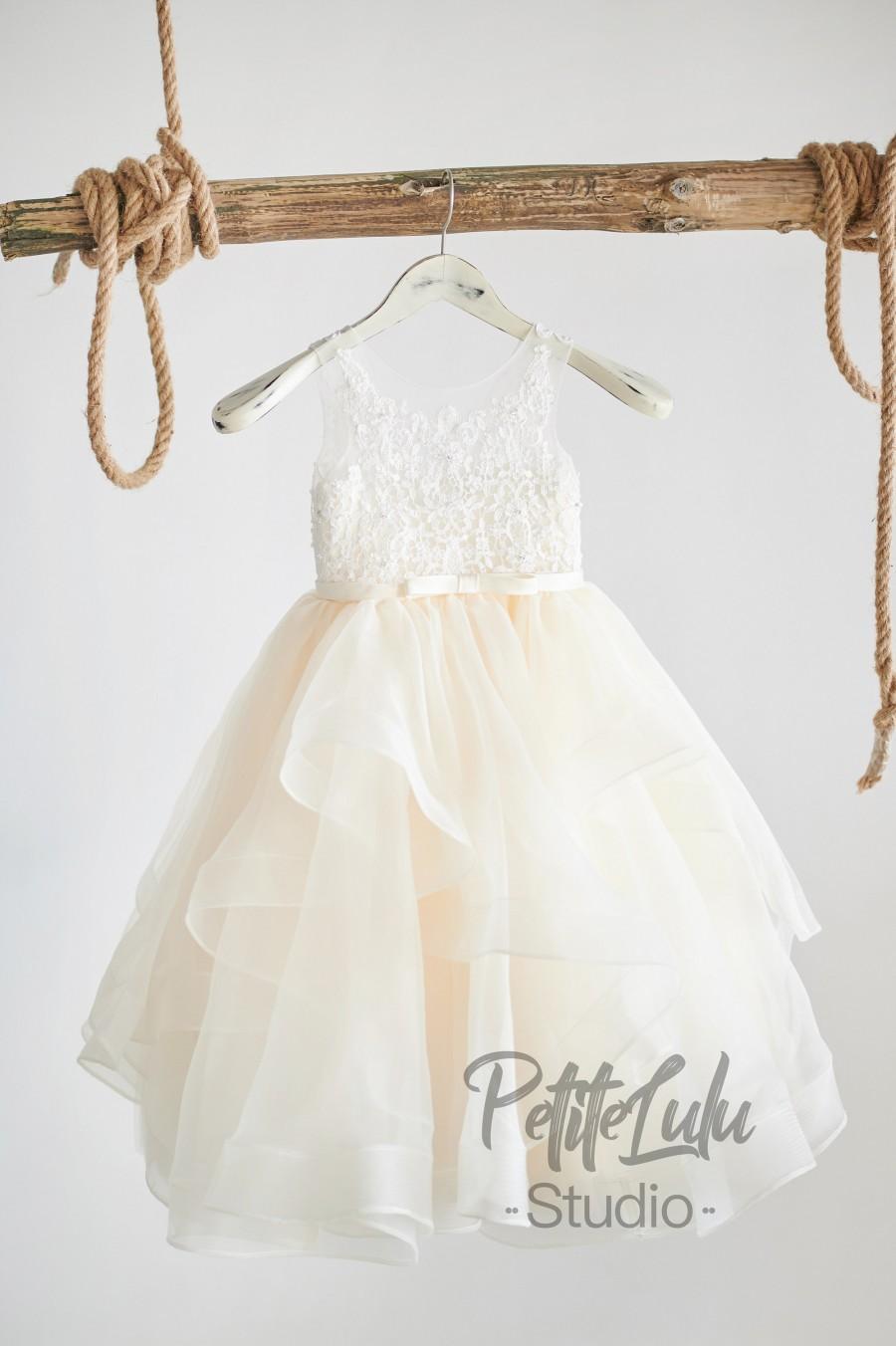 زفاف - Flower Girl Dress, Champagne, Ivory, Beaded Lace, Satin, Tulle, Organza, Princess, Girl Ball Gown Dress, (D007)