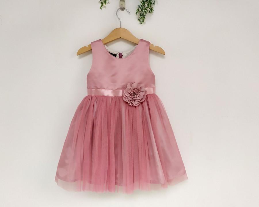 زفاف - Dusty Pink Flower Girl Dress, Satin flower girl tutu dress, Birthday dress, girl dress tulle, child dress, dusty pink wedding