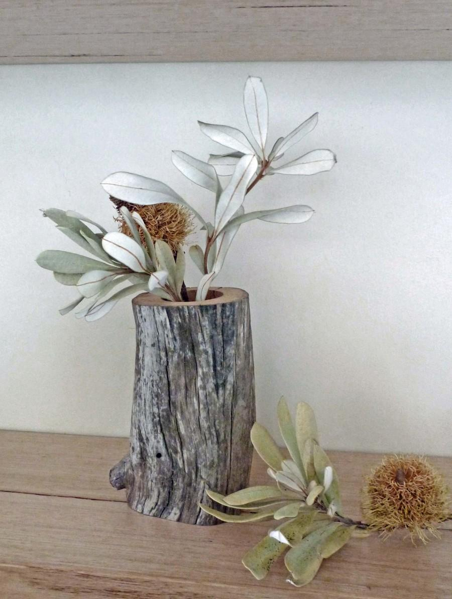Mariage - Rustic Wood Vase for Dried-Flower's, Home/ Wedding Decor