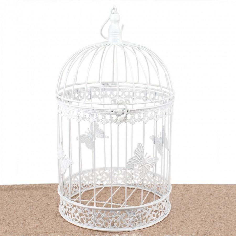 Mariage - Bird Cage Wishing Well Alternative For Wedding Money Gift Round Metal Birdcage