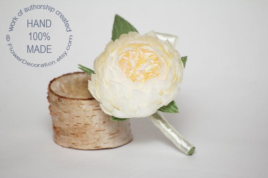 Свадьба - peony boutonniere, wedding flower, wedding peony, wedding decor, paper peonies, paper boutonniere, paper flower