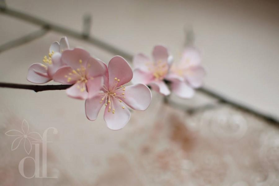 Свадьба - Wabi sabi jewelry Sakura 5 pcs hair pins Blush pink dress Cherry blossom Blossom wedding Flower headpiece Wedding headpiece Bridal headpiece