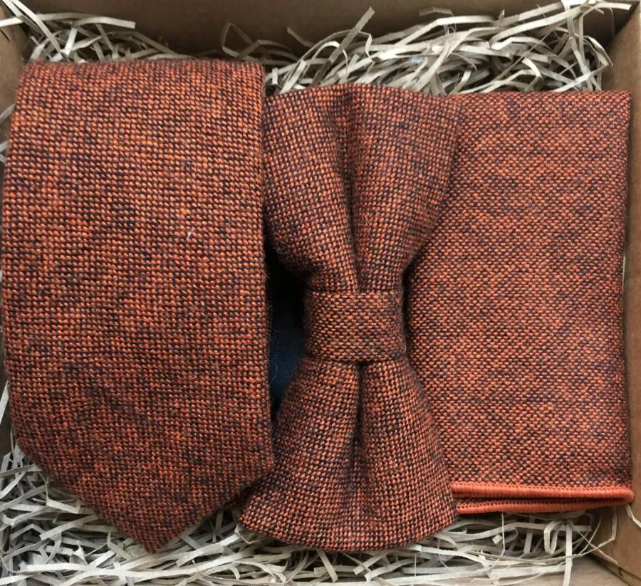 Свадьба - The Maple: Rust, Burnt-Orange Necktie, Rust Bow Tie, Gifts For Men, Men's Ties, Wedding Ties, Burnt-Orange Ties, Tweed Tie, Husbands Gift