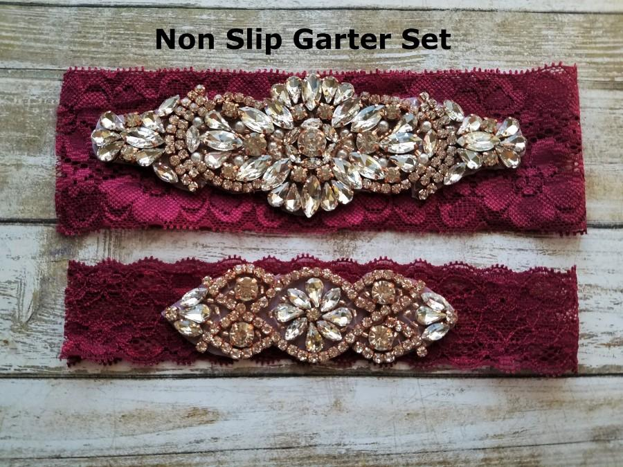 Wedding - Sale -Wedding Garter and Toss Garter-Crystal Rhinestones with Rose Gold Details - Burgundy Wedding Garter Set - Style G90705