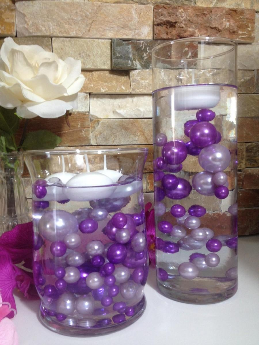 Mariage - DIY Floating Pearl Centerpiece Purple/Lilac Pearls 80pc Mix, Jumbo Pearls Vase Fillers, No Hole Pearls, Table Scatters, Confetti