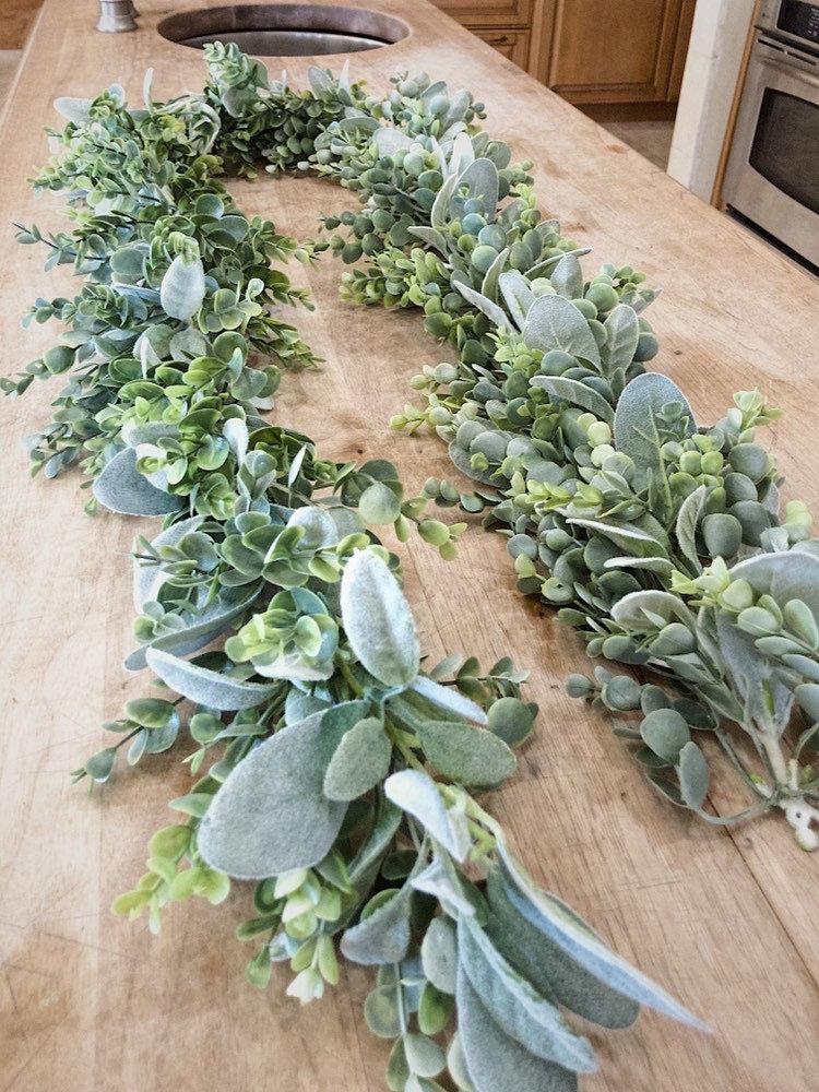 Свадьба - Eucalyptus Garland, Lamb Ear Garland, Flower Garland, Greenery Backdrop, Table Decoration, Table Centerpiece, Wedding Garland, Table Runner
