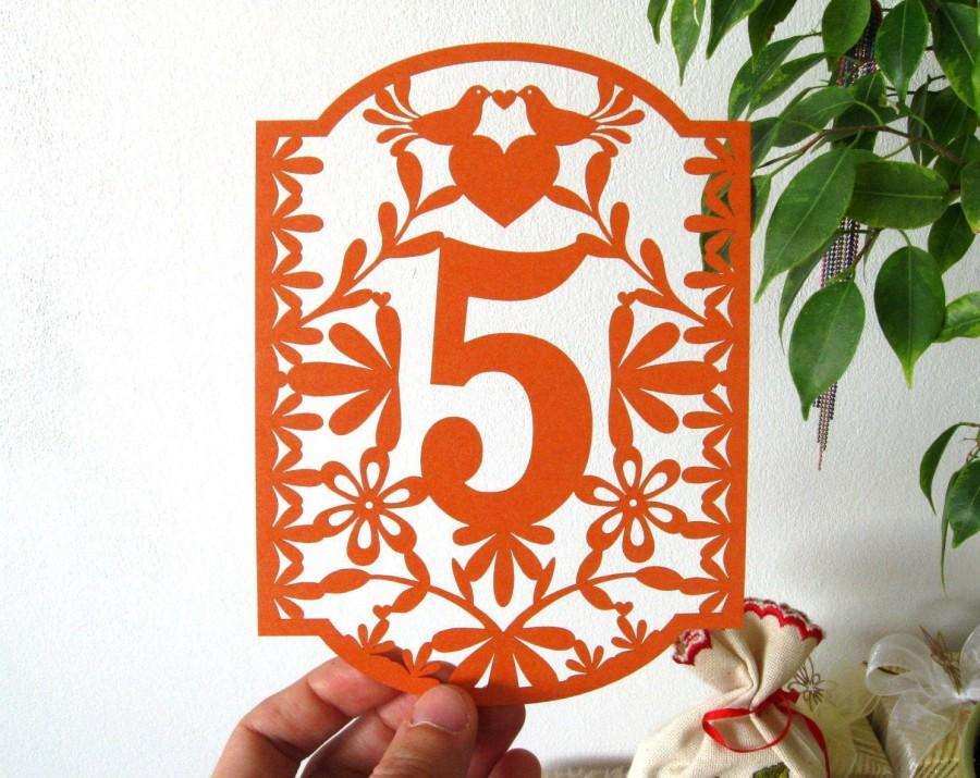 زفاف - Table Numbers, Papel Picado Numbers, Mexican Wedding, Colorful Mexican Fiesta, Love birds table numbers, Love doves table number