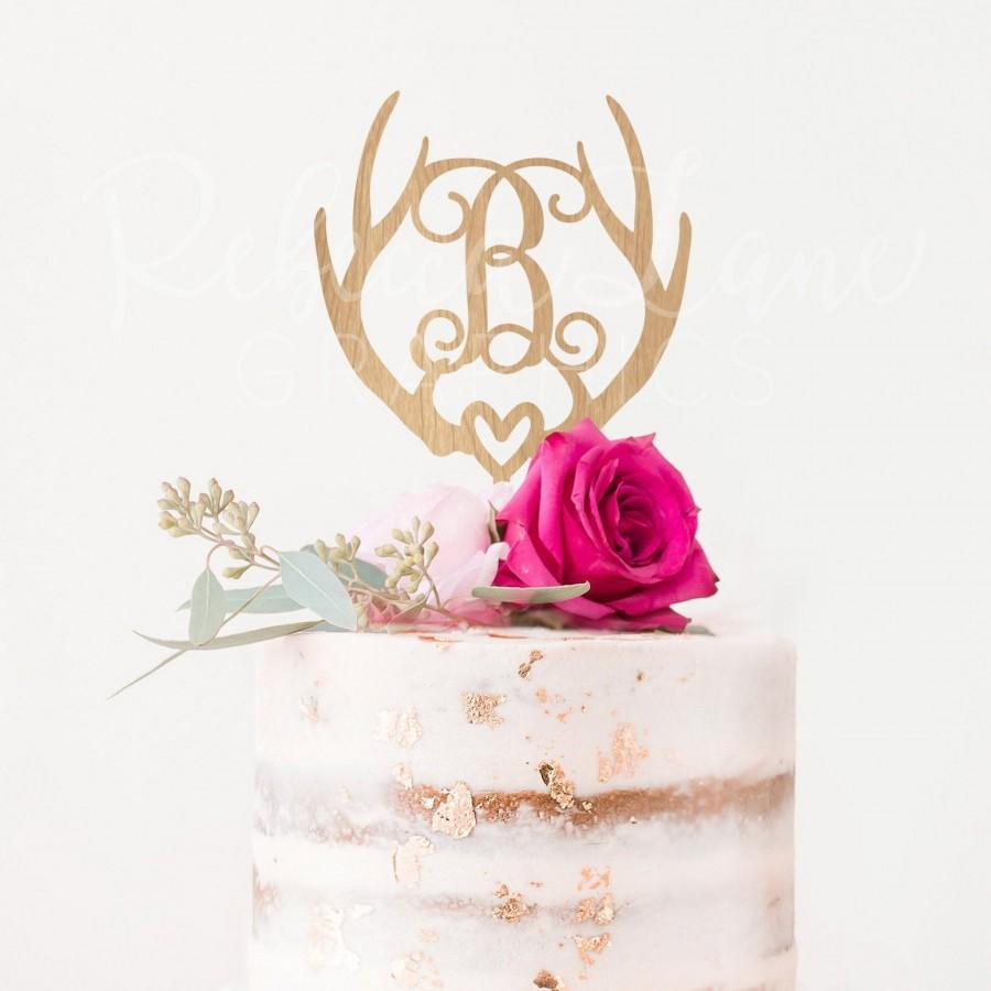 زفاف - Antler Monogram Wedding Cake Topper - Rustic wedding cake topper - deer antler cake topper