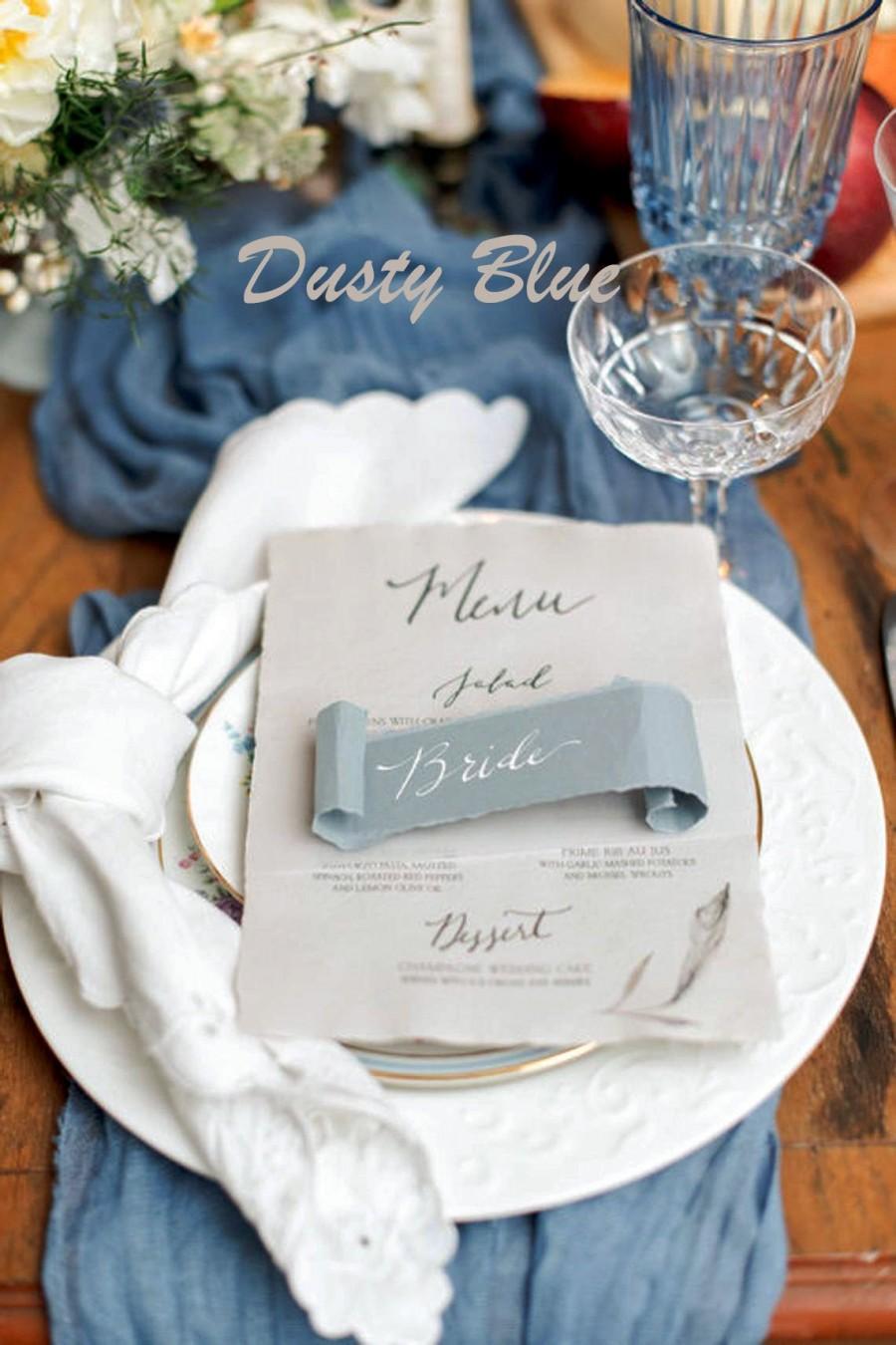 Свадьба - Dusty Blue Wedding Table Runner, Beach Wedding Arch Gauze, Blue Sweetheart Table Gauze, Pink Wedding Reception Table, Wedding Arbor Fabric
