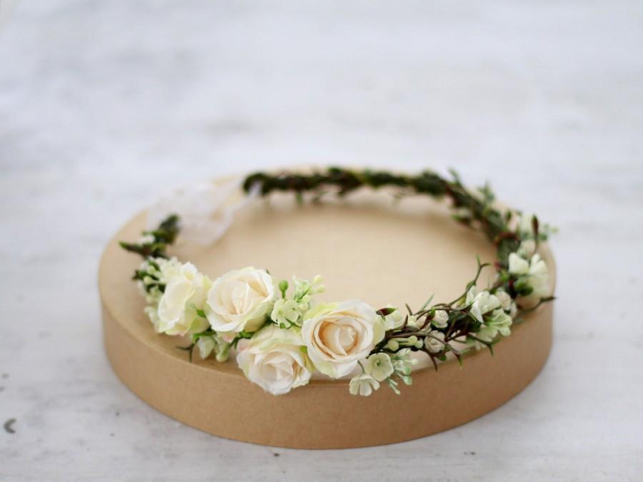 Свадьба - Ivory flower crown wedding, ivory floral headband bride