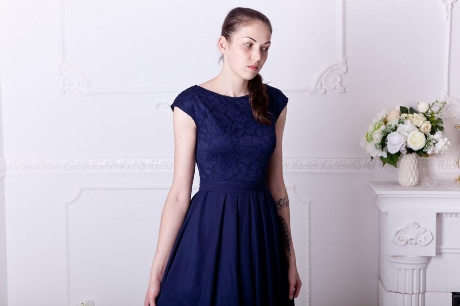 زفاف - Long navy blue bridesmaid dress with cap sleeves. Modest lace dress floor length. Navy prom dress with sash