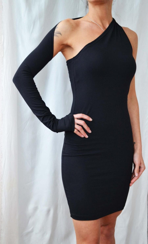 زفاف - ONE SHOULDER DRESS LBd Sexy Black Dress One Sleeve Night out Dress Black Party Dresses Womens Dresses Little Black Dress Extra Long Sleeve