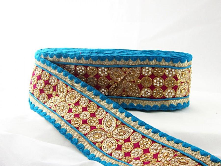 زفاف - Gold Kundan Lace, sari borders trim, pink and blue lace trim, velvet saree Border, floral shape lace, Indian Trim Lace, Beaded velvet lace,
