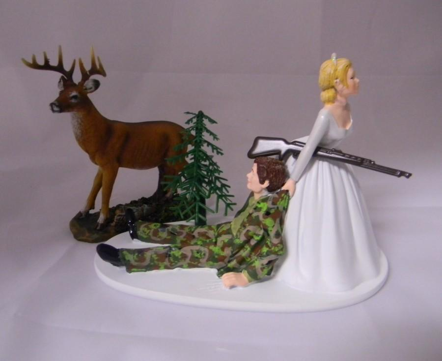 Свадьба - Wedding Reception Party Camo Deer Rifle Gun Hunting Hunter Cake Topper