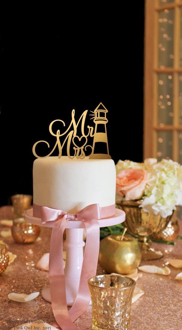 Свадьба - Mr & Mrs Wedding Cake Topper - Lighthouse Cake Topper - Gold Cake Topper