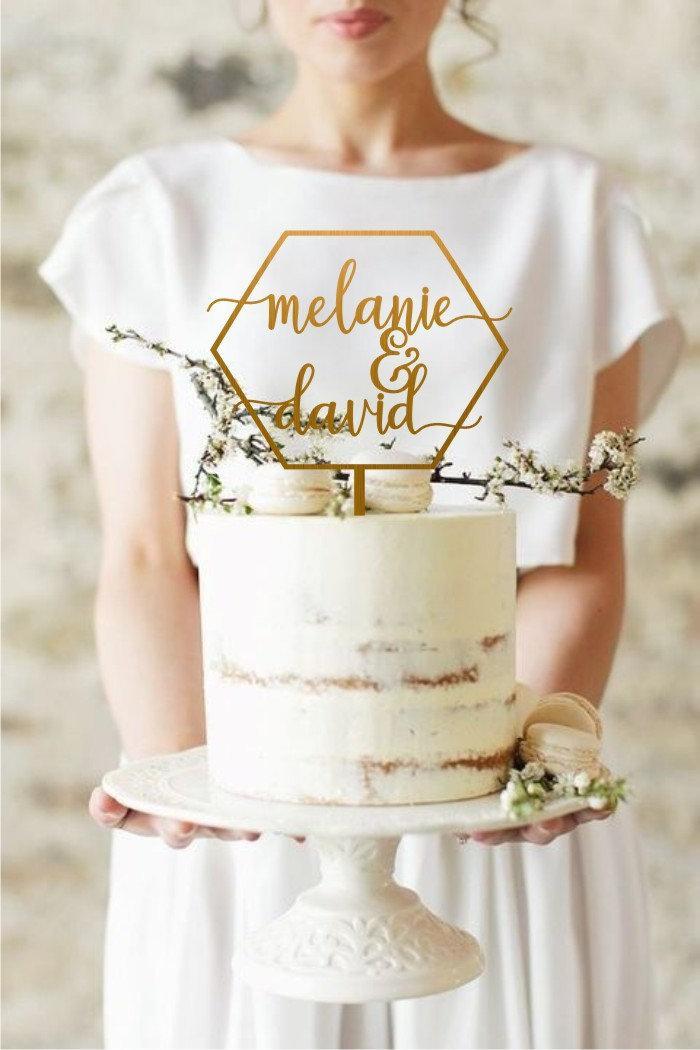 Свадьба - Boho Geometric Personalized Cake Topper, Custom Wedding Cake Topper, Custom Your Own Name