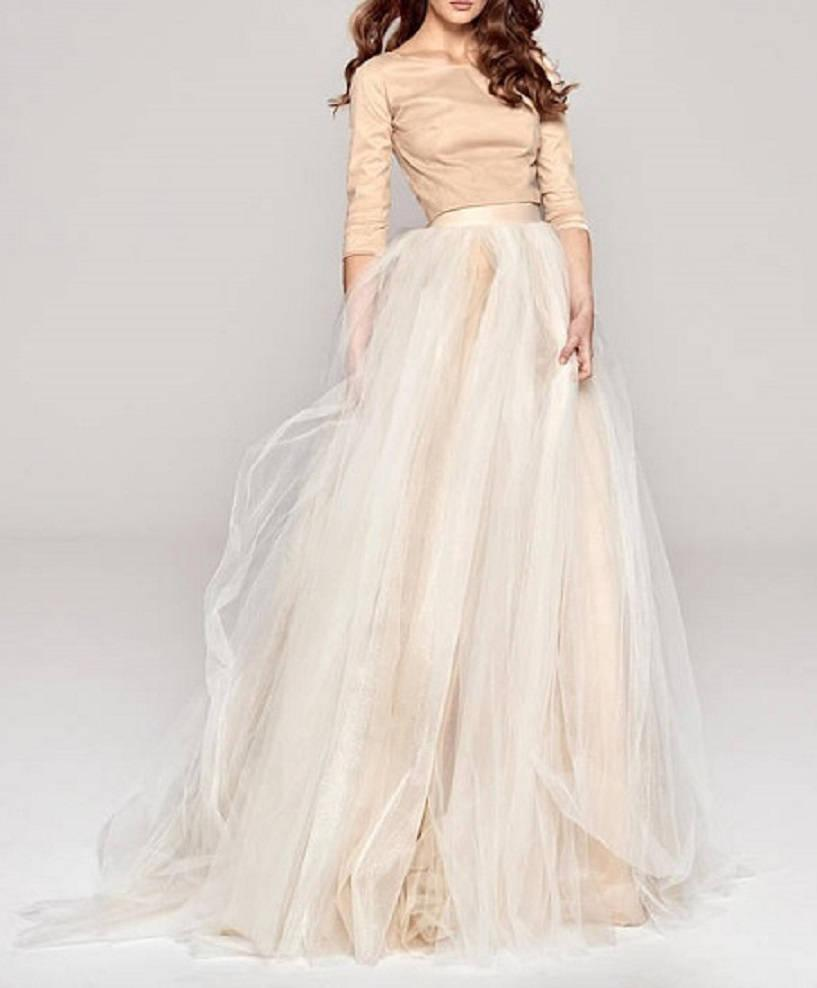 Wedding - Bridal Separates  Tulle  CARMELL Skirt two tone dual color skirt Custom Order available