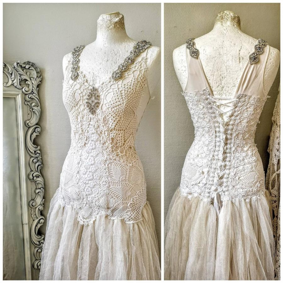 Wedding - Boho wedding dress white , fairy wedding dress ,vintage lace with ragged tulle skirt