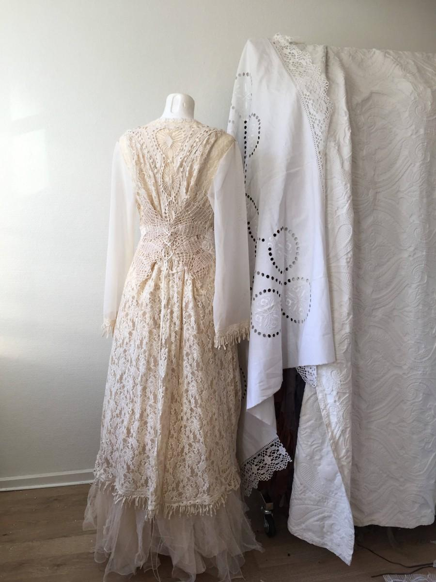 Hochzeit - Bohemian wedding coat , antique French lace , handmade and one of a kind, Raw Rags
