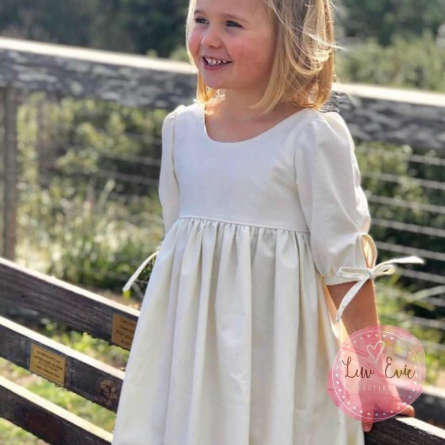 "Mariage - The ""Bella"". White or Ivory Cotton Flower Girl Dress."