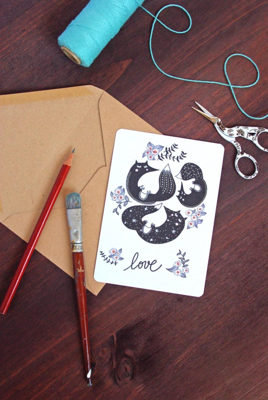 Mariage - Je t'aime Love French Fox Postcard - Free Shipping! Valentine's Day / Wedding