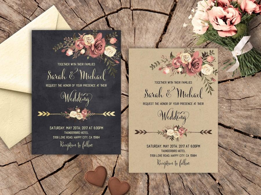 Свадьба - Rustic Floral Wedding Invitation Set Printable Boho Wedding Invitation Suite Pale Blush Pink Roses Wedding Invitation Romantic Wedding