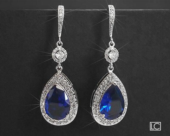 زفاف - Navy Blue Crystal Earrings, Sapphire Blue Cubic Zirconia Earrings, Blue Silver Teardrop Earrings, Blue Chandelier Dangle Wedding Earrings