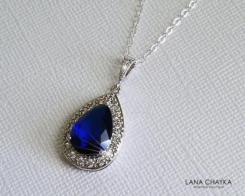 Hochzeit - Sapphire Teardrop Bridal Necklace, Navy Blue Silver Wedding Pendant, Royal Blue Necklace, Sapphire Halo Necklace, Navy Blue Bridal Jewelry