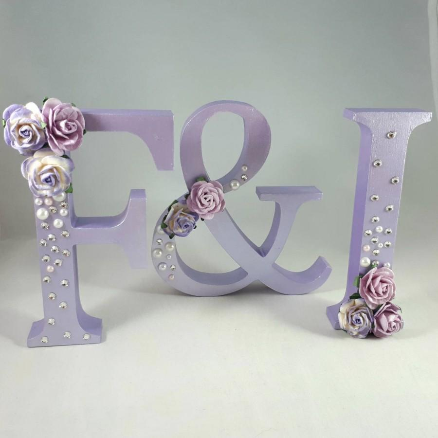 Свадьба - Lilac Wedding Initials - Table Decor - Rose And Crystal Embellished Wooden Letters - Wedding And Party Decor - Bride And Groom Keepsakes