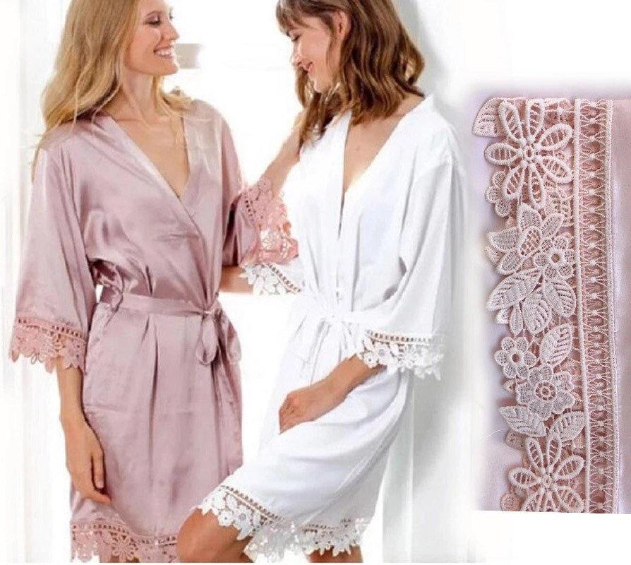 Wedding - Plain Satin Robes, Plain Dressing Gowns, Plain Lace Trim Robes, Satin Lace Robes, Plain Silk Robes, Bridal Party Satin Robes
