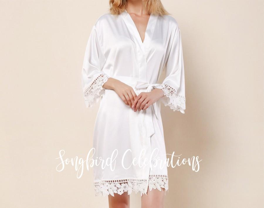 Wedding - White Lace Bridal Robe, Satin Bridesmaid Robes, Champagne Bridesmaid Robes, Bridesmaid Proposal Gift Box, Bridal Shower Gift for Her,