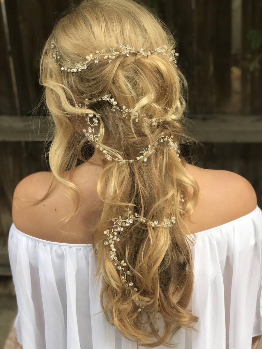 Свадьба - Long Hair Vine, Pearl Hair Vine, Crystal Hair Vine, Wedding Hair Accessory, Bridal Hair Wreath, Pearls Hair Crown, Rhinestone Hair Vine