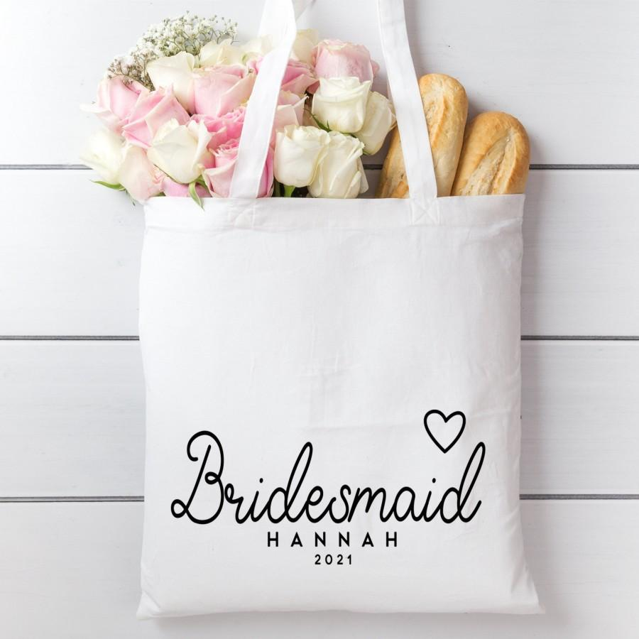 Свадьба - Personalised Bridesmaid cotton tote gift bag. Wedding day proposal long handle bag.