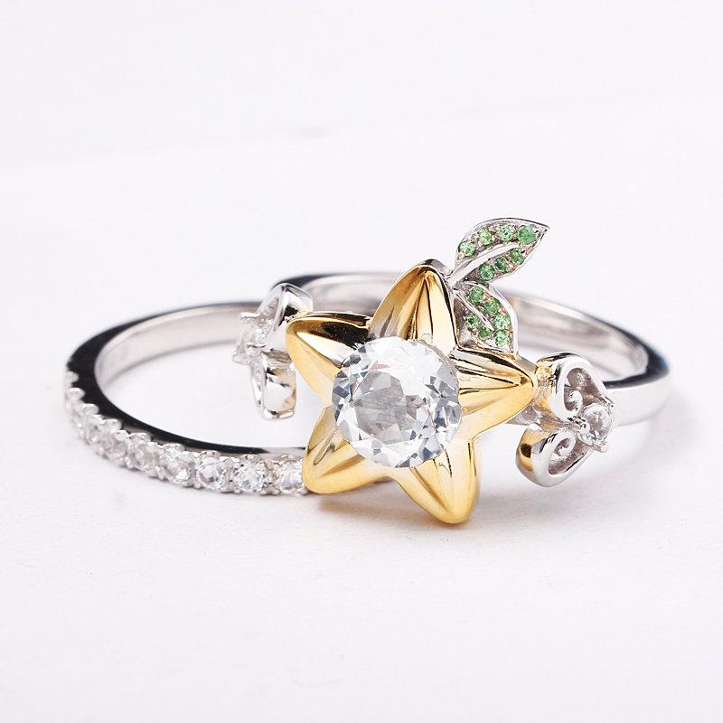 Mariage - Star Fruit and Hearts Engagement Ring Promise Ring Wedding Ring Cosplay Jewelry Nerdy Geek Video Game Keyblade Star