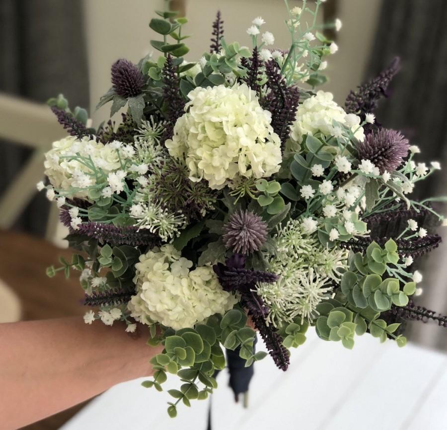 زفاف - Wedding Bridal Bride Bouquet - Artificial Garden Flower Bouquet - Eucalyptus, Thistles, Gypsophila, Lavender
