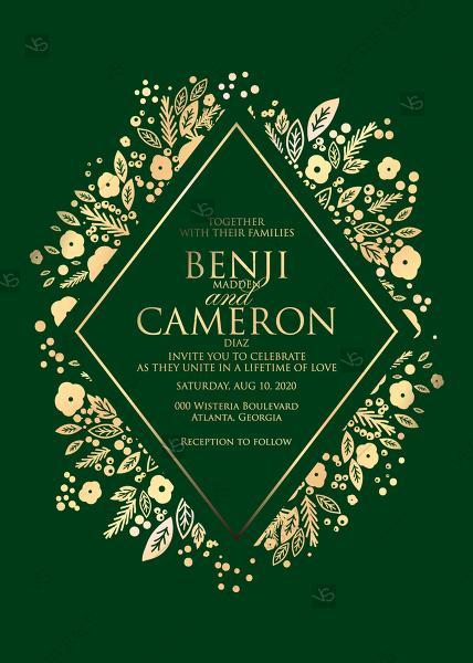 زفاف - Gold foil pressed wedding invitation emerald green background thank you card