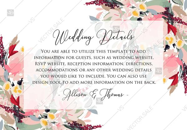 Wedding - Watercolor wreath garden flower Baby Shower Invitation editable template card PDF 5x3.5 in online editor