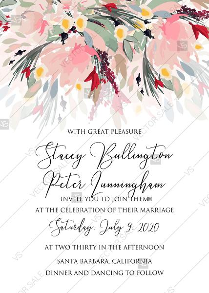 Свадьба - Watercolor wreath garden flower Baby Shower Invitation editable template card PDF 5x7 in online maker