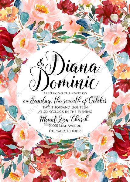 Свадьба - Wedding invitation set autumn marsala pink peony rose watercolor greenery PDF 5x7 in invitation maker