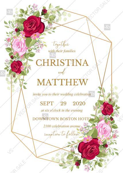 Mariage - Wedding invitation set red pink rose greenery wreath card template PDF 5x7 in wedding invitation maker
