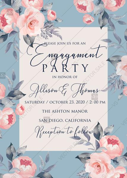Mariage - Peony engagement party invitation floral watercolor card template online editor pdf 5x7 in