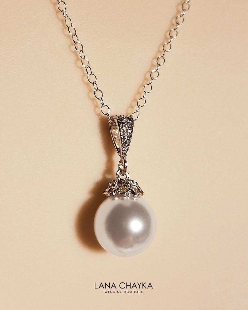 Свадьба - White Pearl Bridal Necklace, Swarovski 10mm White Pearl Sterling Silver Necklace, Bridal Pearl Jewelry Wedding Single Pearl Pendant Necklace