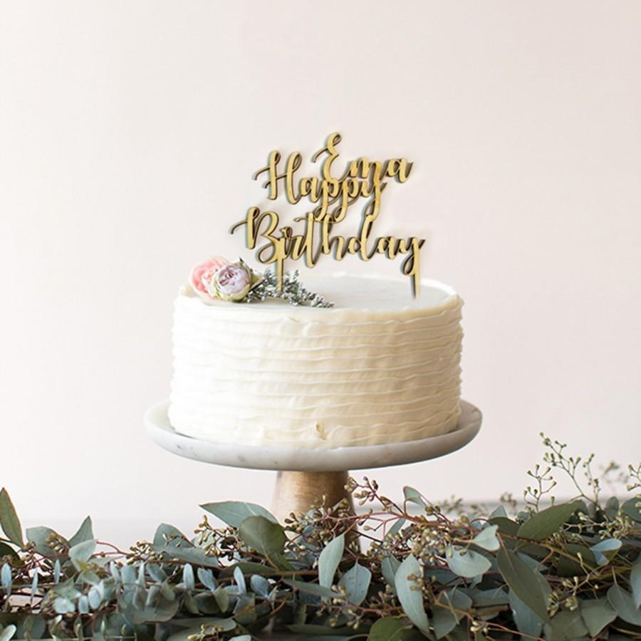 Wedding - Custom Cake Topper, Wooden Happy Birthday Cake Topper, Script Cake Topper, Cake Topper, Cake Decorations, Birthday Party,Birthday decoration