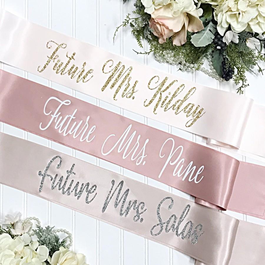 Wedding - Future Mrs. Sash - Bachelorette Sash - Bachelorette Party - Bridal Shower Sash - Bride Gift - Bachelorette Party Accessories - Satin Sash