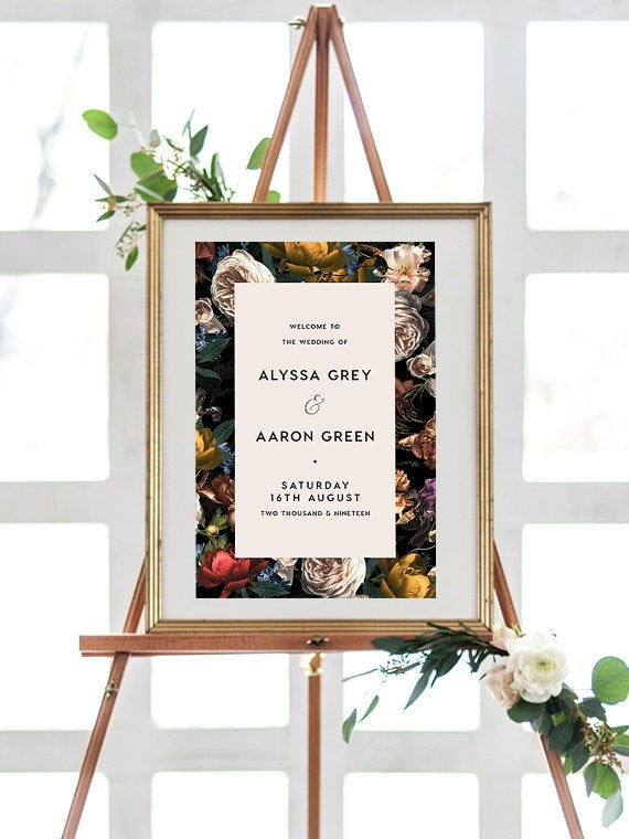 Hochzeit - Floral, Welcome Sign INSTANT DOWNLOAD Poster, Portrait, Templett, Printable, Instant Download, Stationary, greenery, red, Flowers, WD009