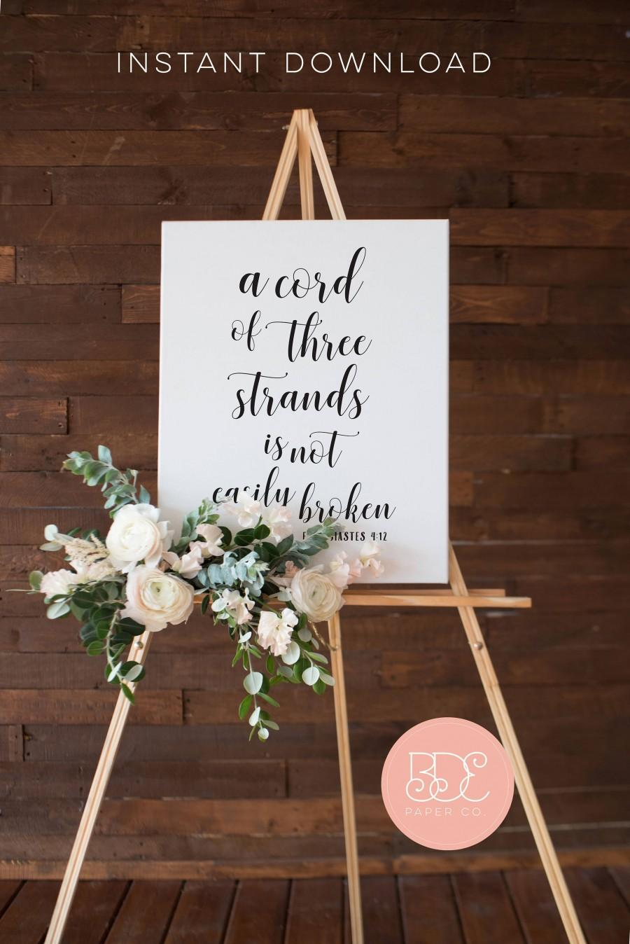 Свадьба - Wedding Sign Scripture Poster • A Strand of Three Cords is not Easily Broken • 5x7, 8x10, 16x20, 18x24, 24x36