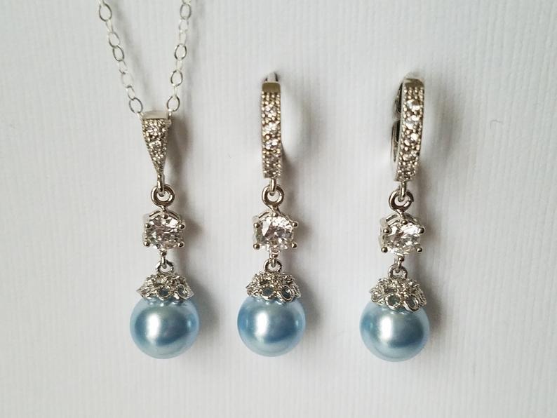 Wedding - Blue Pearl Bridal Jewelry Set, Wedding Blue Silver Set, Swarovski Light Blue Earrings&Necklace Set, Wedding Blue Jewelry, Bridal Party Gift