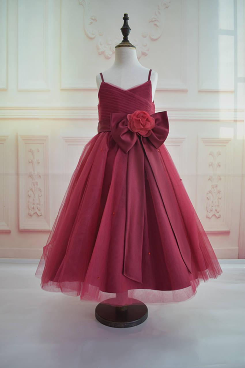 Свадьба - Burgundy color tulle flower girl dress