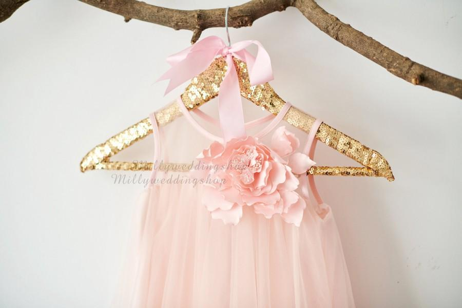 زفاف - Boho Beach Blush Pink Tulle Wedding Flower Girl Dress M0076