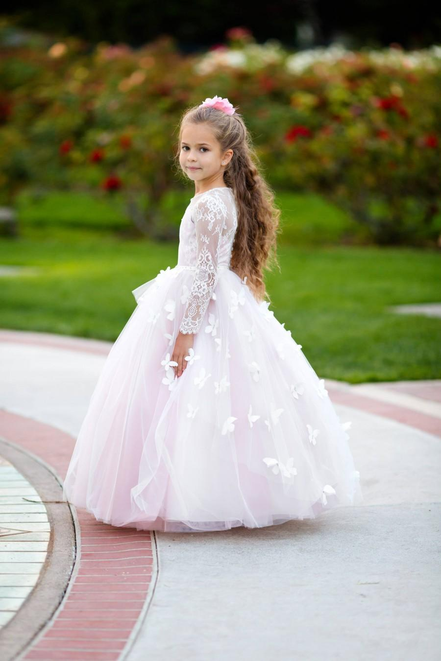 زفاف - Pink flower girl dress long sleeve Lace girls wedding party 1st Birthday Baby Toddler Princess Special occasion